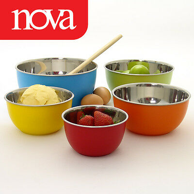 Nova 5 Stackable Mixing Bowls Set Salad Storage Food Container Different Colors