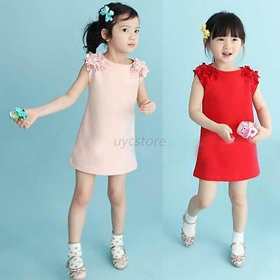 Fashion Baby Girl Flower Shoulder Sleeveless Sundress Solid Princess Dress Chic