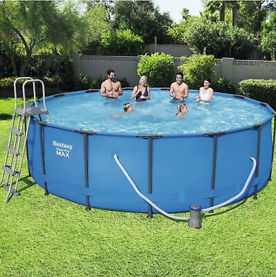 Steel Frame Round Swimming Pool Set Filter Pump Ladder Cover Ground Cloth Large