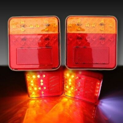 2X 12V Led Truck Trailer Lorry Caravan Rear Tail Brake Light Indicator Lamp