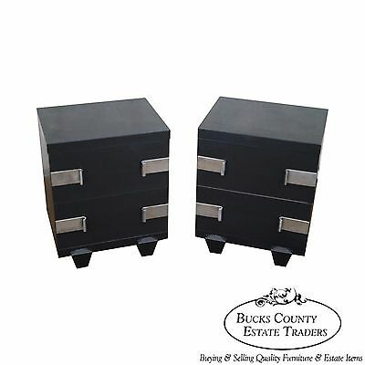 Mid Century Modern James Mont Influenced Black Pair of Nightstands