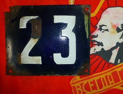 Vintage old USSR RUSSIA enamel street sign 23 home namber 14x11cm 1950s