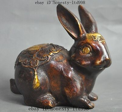 marked chinese bronze gilt fengshui Animal Zodiac Rabbit wealth lucky statue
