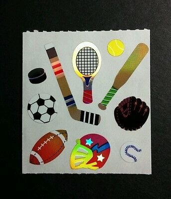 LOT 10pcs ON 1 SHEET SPORTS FOOTBALL HOCKEY TENNIS SOCCER BASEB STICKER STICKERS