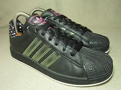 sports shoes f0673 c8f29 VGC ADIDAS ORIGINALS Junior Black Pink-White Dotted Leather Trainers UK  4 EU36