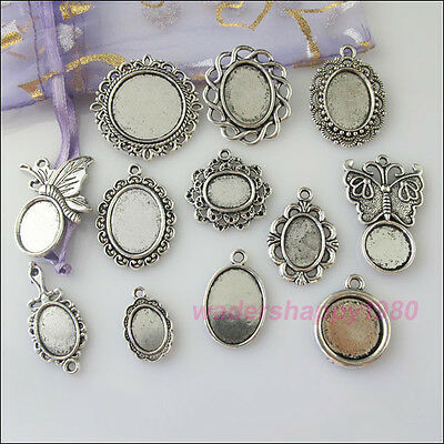 12Pcs New Charms Tibetan Silver Tone Picture Frame Pendants Mixed for DIY Crafts