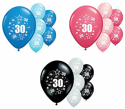 "8 X 30Th Birthday Balloons 12"" Helium Quality Party Decorations (Pa)"