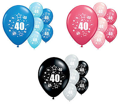"8 X 40Th Birthday Balloons 12"" Helium Quality Party Decorations (Pa)"