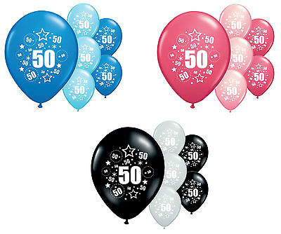 "8 X 50Th Birthday Balloons 12"" Helium Quality Party Decorations (Pa)"