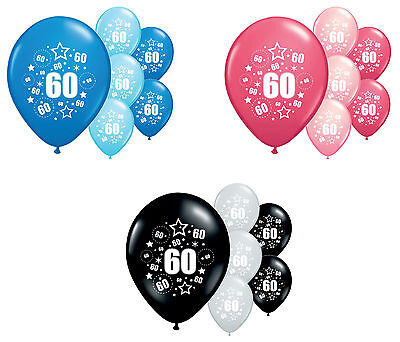 "8 X 60Th Birthday Balloons 12"" Helium Quality Party Decorations (Pa)"