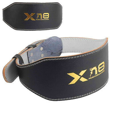 "Weight Lifting 4"" 6"" Leather Belt Back Support Strap Gym Power Training Fitness"