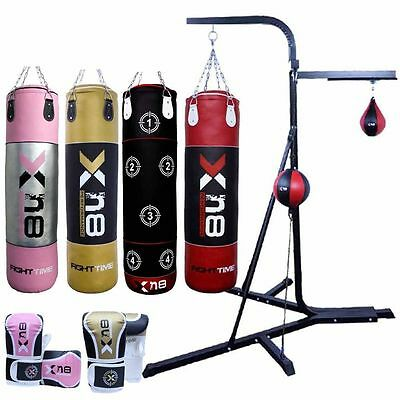 Punch Bag Free Standing Frame 3 Way Stand MMA Boxing Speed ball Kick Fight Time