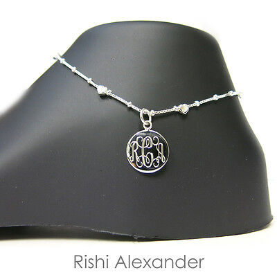 925 Sterling Silver Hearts on Box Chain Monogram Personalized Anklet