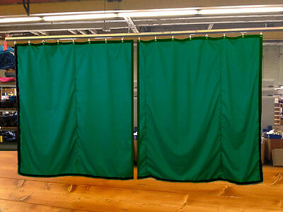 Lot of (2) Hunter Green Curtain/Stage Backdrop, Non-FR, 10 H x 10 W