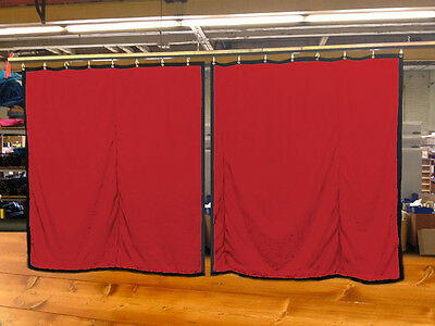 Lot of (2) New!! Red Curtain/Stage Backdrop, Non-FR, 10 H x 10 W