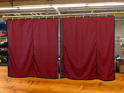 Lot of (2) Burgundy Curtain/Stage Backdrop, Non-FR, 10 H x 10 W