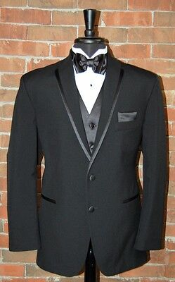 MENS 40 R BLACK LA STRADA by After Six TUXEDO JACKET / PANT / SHIRT / BOW TIE