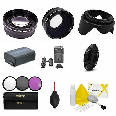 Wide Angle Lens +  Zoom Lens + Np-Fw50 + Filter Kit For Sony Alpha A5000 A6000