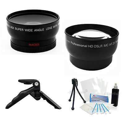 0.45X Wide Angle + 2X Telephoto Lens for Canon T1i T2i T3 T3i 18-55 58mm + Bonus