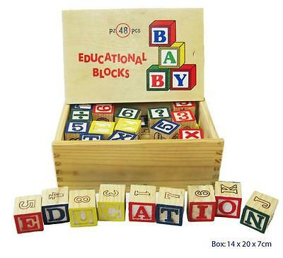 Educational Wooden Blocks Kids Alphabet Letters Numbers Toy 48pc