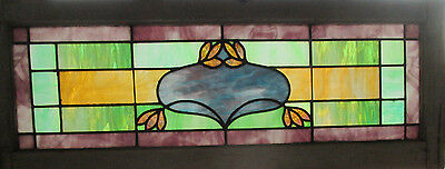 ~ Antique American Stained Glass Transom Window ~ 44 X 17 ~ Salvage ~