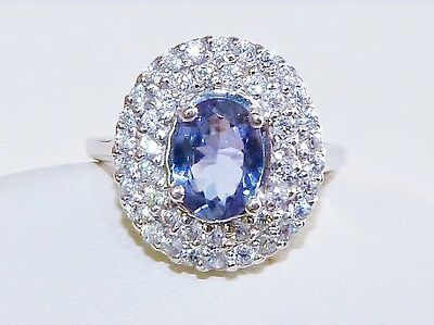 GENUINE! RARE 1.03cts! Tanzanite Solitaire Halo Ring Solid Sterling Silver 925