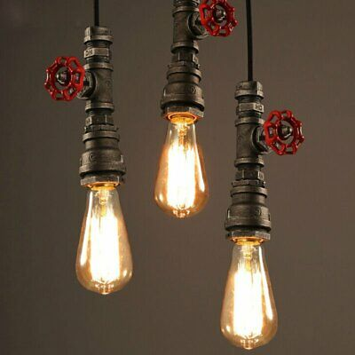 Vintage Water pipe Industrial Hanging Decor Ceiling Lamp Shade Pendant Light