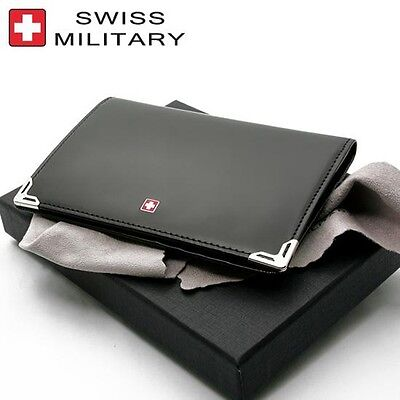 Swiss Military Passport Holder Wallet Card Case Leather Business ID Money Clip