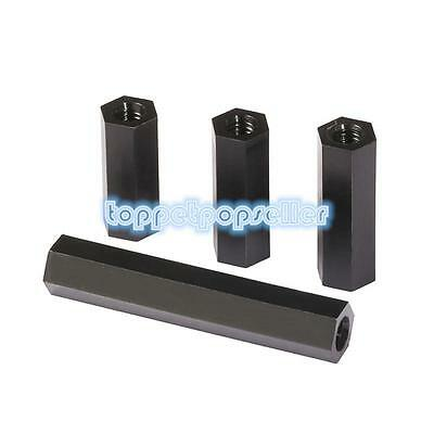 M2 M2.5 M3 M4 Nylon Hex Column Female Spacer Threaded Hex Standoff Support Black