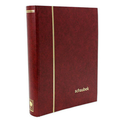 Stamps Stockbook. Black pages with Burgundy Red Cover. 32 pages/64 sides.