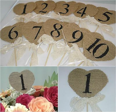 Hessian Burlap Heart Table Numbers 1 to 10 Rustic, Vintage, Shabby Chic Wedding