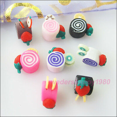 18Pcs New Polymer Clay Charms Cake Spacer Beads Mixed for DIY Crafts 15mm