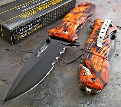 TAC-FORCE Speed Assisted Opening RED CAMO Belt Cutter Glass Breaker Rescue Knife