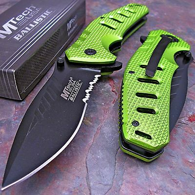 MTECH Spring Assisted Opening GREEN EXTRA LARGE HEAVY DUTY Folding Pocket Knife!