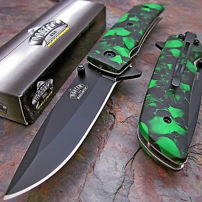 MASTER BALLISTIC Spring Assisted Open GREEN SKULL CAMO Folding Pocket Knife NEW