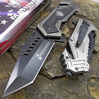 USMC MARINES Spring Assisted Open OFFICIALLY LICENSED Tactical Pocket Knife NEW