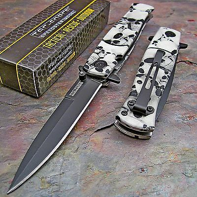 TAC-FORCE SPEEDSTER Spring Assisted Opening GREY SKULL CAMO Stiletto Knife NEW!