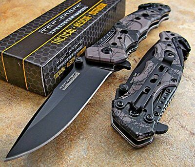 TAC-FORCE Speedster Assisted Opening GRAY CAMOUFLAGE Rescue Glass Breaker Knife!
