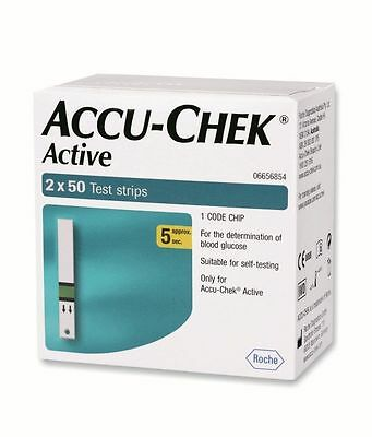 ACCU CHEK ACTIVE 100 Test Strips  NEW STOCK(FREE SHIPPING)2x50 Strips1 Code Chip