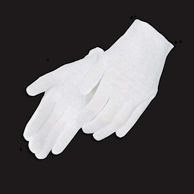 24 Pairs White Coin Jewelry Silver Inspection Cotton Lisle Gloves - Light Weight