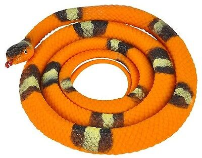 2 x Orange Rubber Snakes to Scare Away Rats Cats Mice Rodents Humanely Free Ship