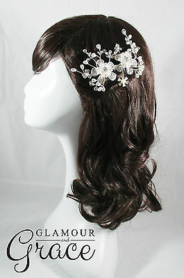 Kimberley vintage wedding silver pearl bridal comb hair accessories headpiece
