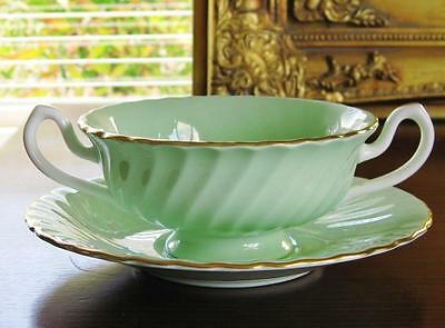 Vintage MINTON Soup Coupe with under plate, green.