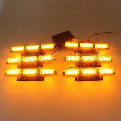 6X LED Flashing Emergency Strobe Light Recovery Grille/Deck Amber Light Auto Car