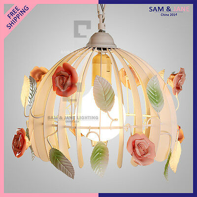 New Colorful LED Chandelier Garden Flowers Ceiling Fixture Ceramic Rose Wedding • CAD $237.54