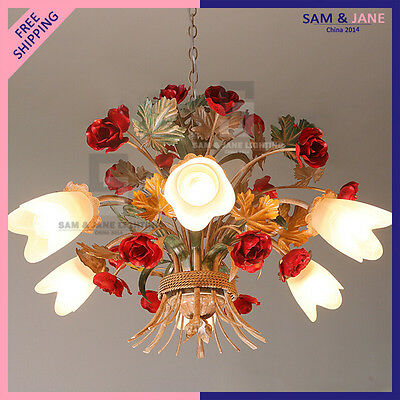 New Colorful LED Chandelier Garden Flowers Ceiling Fixture Ceramic Rose Wedding