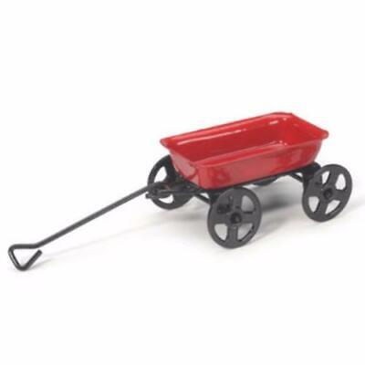 """Miniature Classic Little Red Wagon w/ Black Wheels and Pull Lever (Metal) 1 5/8"""""""