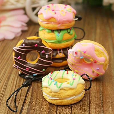 4.5cm Squishy New Cream Scented Doughnut Cell Phone Fruit Donuts Charms Strap