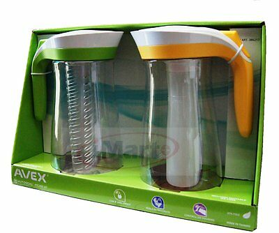 2x Avex Autoseal Pitcher Set | Infuser stick+Ice Core|2 Litre Water Jug|BPA Free
