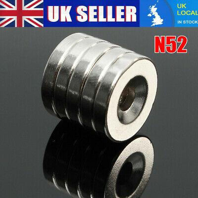 5pcs N50 Countersunk Rare Earth Neodymium Ring Magnets 20 x 3mm with 5mm Hole